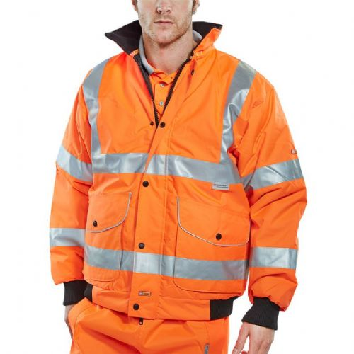 BSeen Hi Vis Orange Super Bomber Jacket